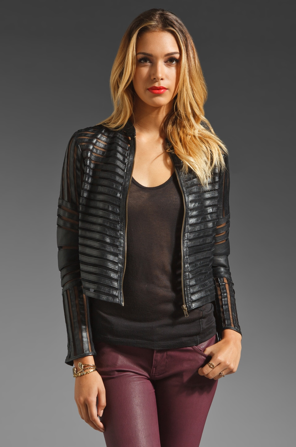 Parker Leather Mesh Panel Jacket in Black