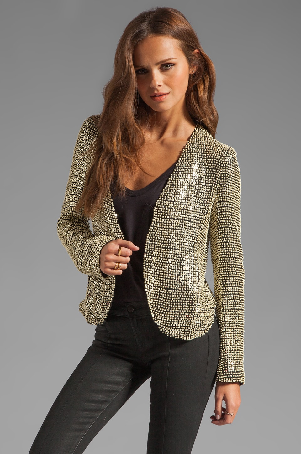 Parker Ivory Seed Sequin Jacket in Black