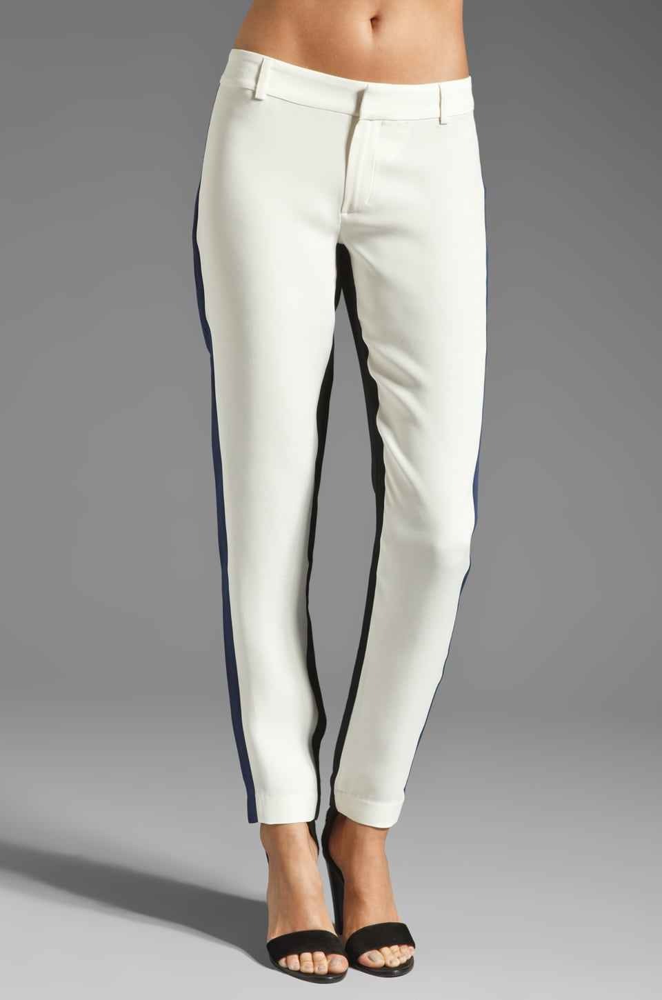 Parker Crepe Georgette Combo Pant in Ivory/Combo