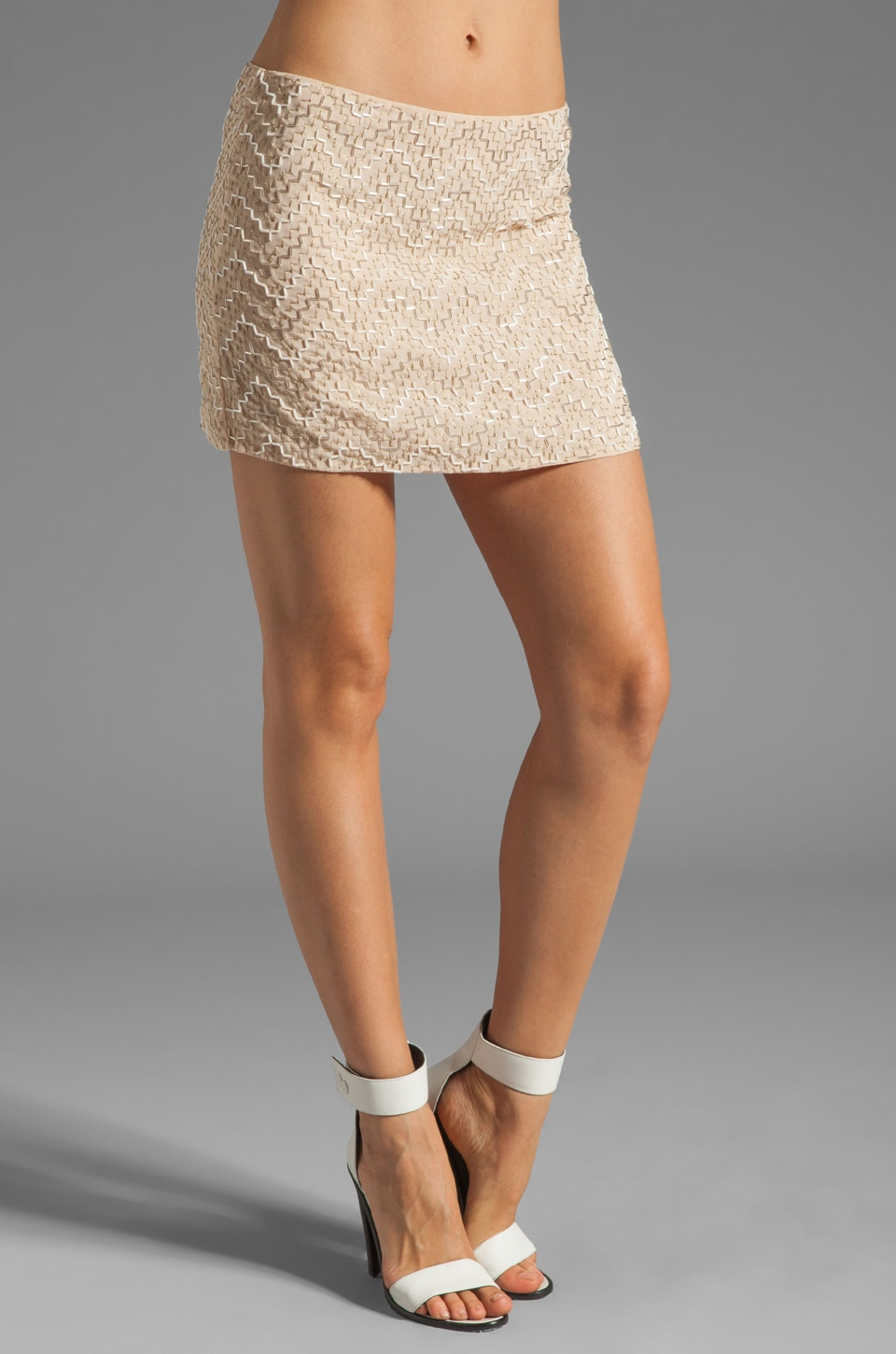 Parker Layla Sequin Pyramid Skirt in in Nude