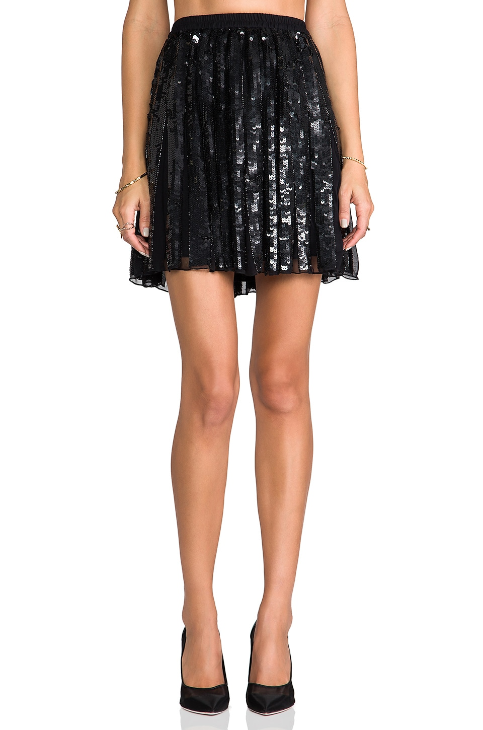 Parker Sequin Delphine Skirt in Black