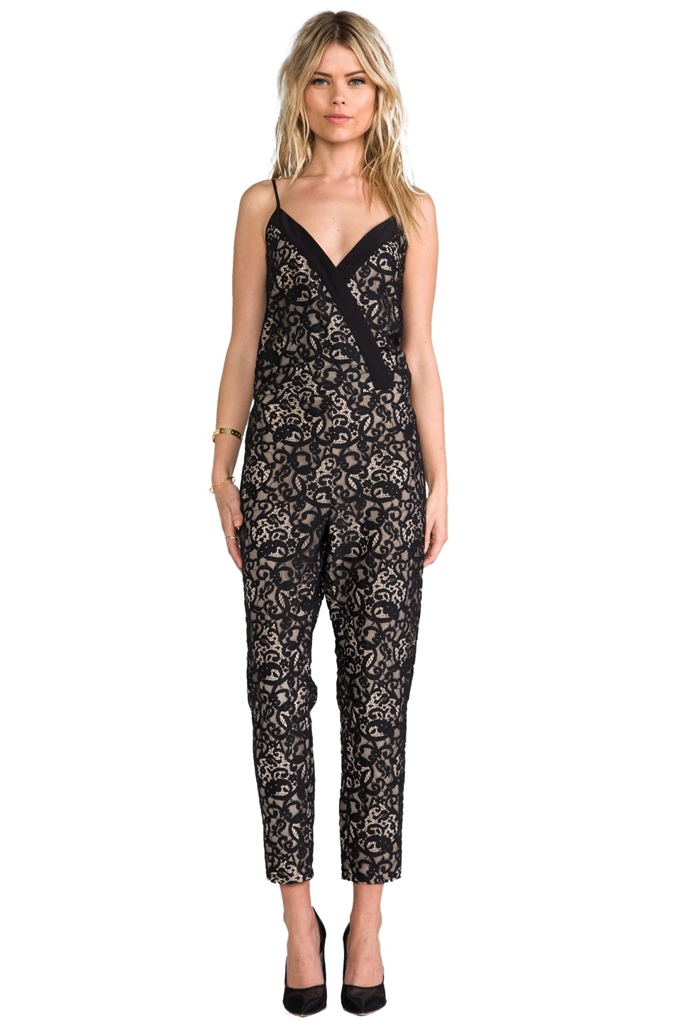 Parker Sienna Lace Jumpsuit in Black