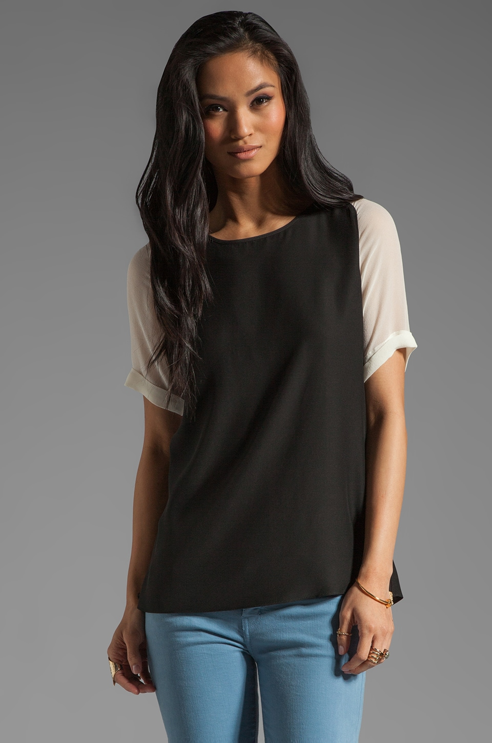 Parker Short Sleeve Chiffon Combo Top in Black