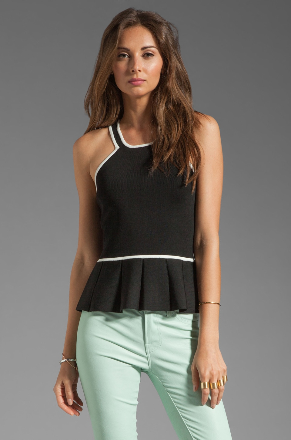 Parker Alix Contrast Knit Top in Black/Ivory