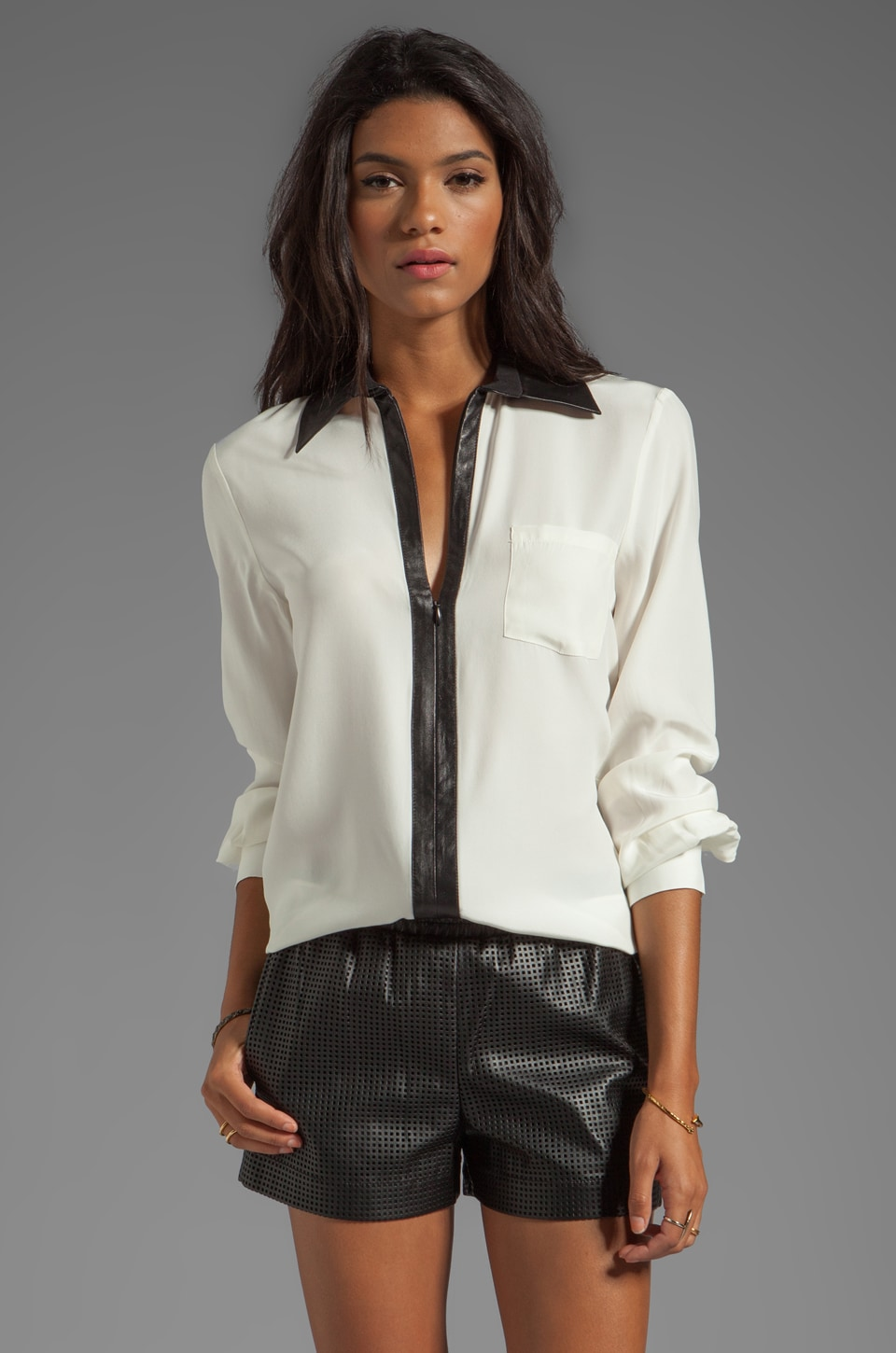 Parker Marin Combo Blouse in Creme