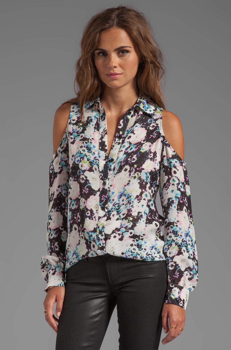 Parker Luella Open Shoulder Top in Saxy Floral