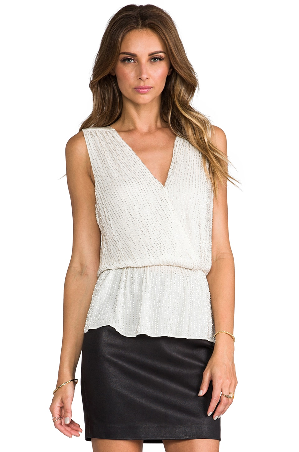 Parker Sequin Beaded Pearl Top in Winter White
