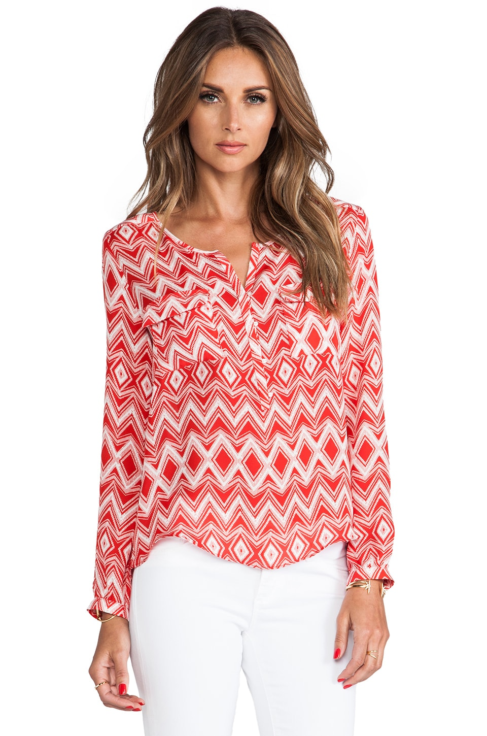 Parker Marissa Blouse in Crimson Geo