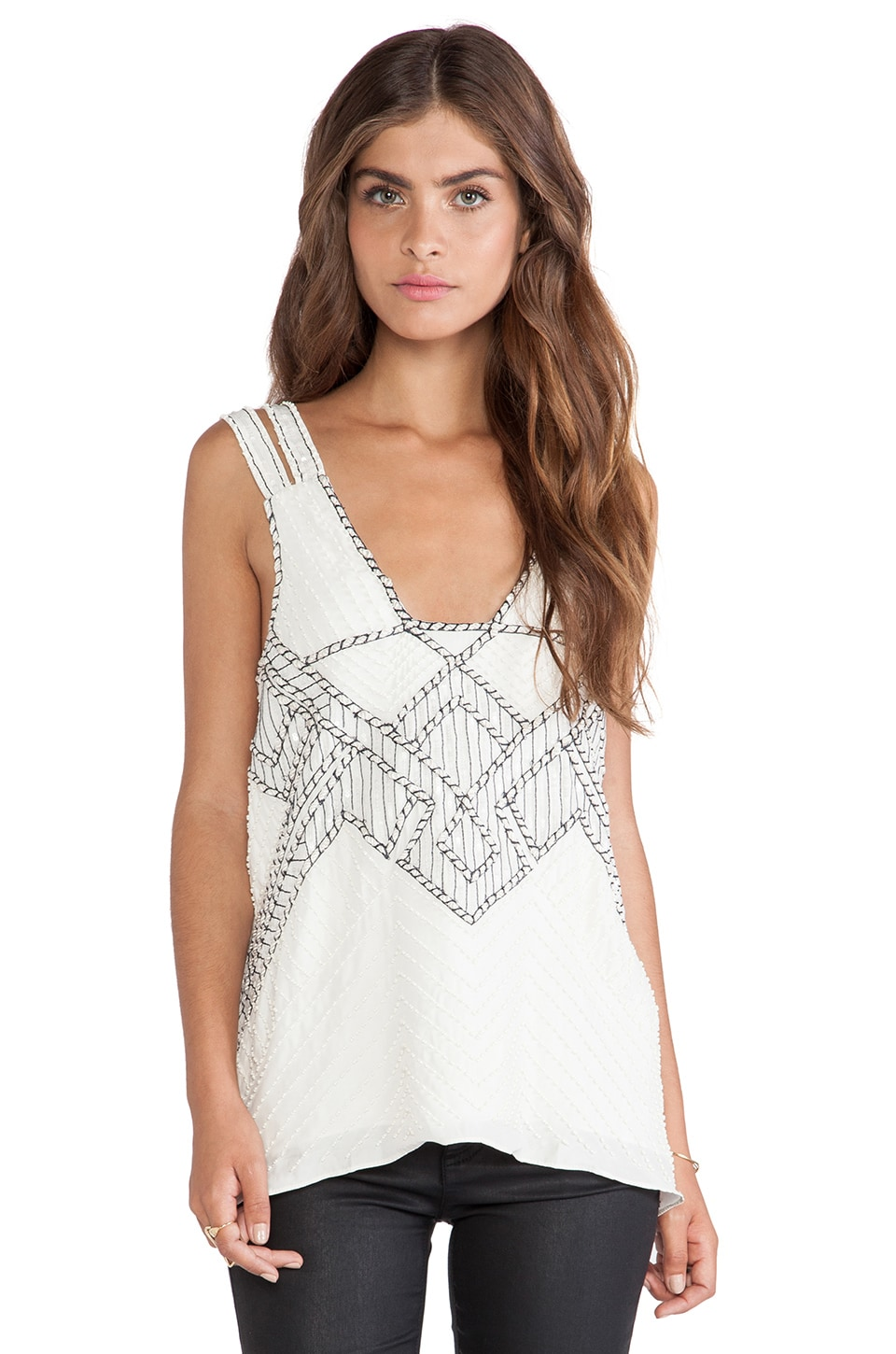Parker Nadia Sequined Top in White