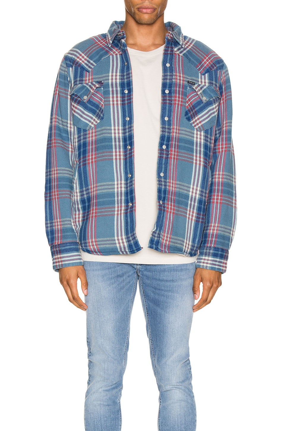 Polo Ralph Lauren Cotton Twill Long Sleeve Shirt in Azure & Red Multi