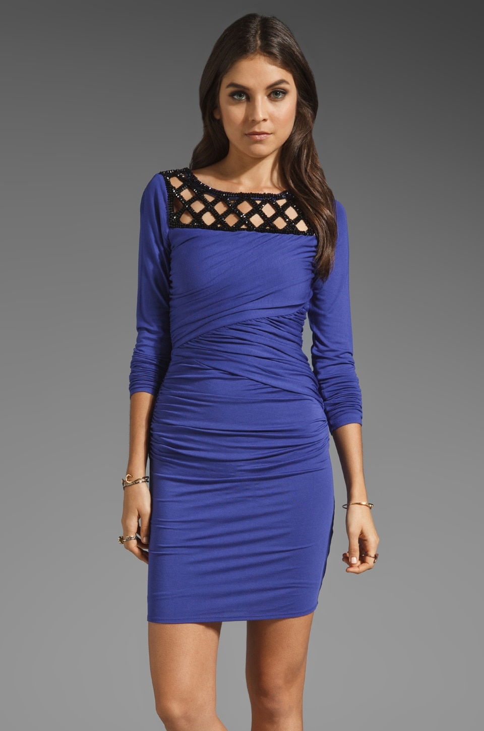 Plenty by Tracy Reese Solid Jersey Embellished Shift Dress in Blue Violet