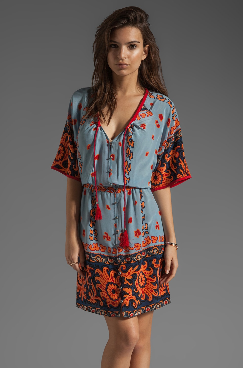 Plenty by Tracy Reese Scarf Placement Foulard Peasant Dress in Chambray/Desert Flower