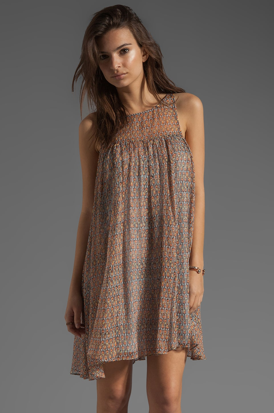 Plenty by Tracy Reese Tiny Wood-Block Print Fly Away Chemise Dress in Chambray