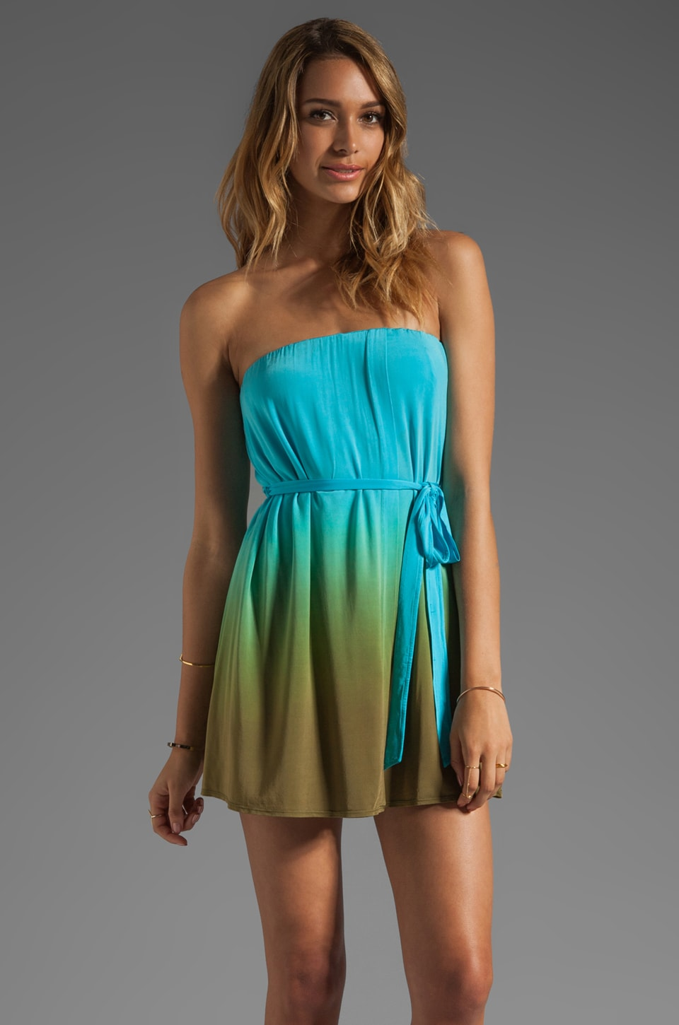 Plenty by Tracy Reese Dip Dyed Slinky Jersey Drapey Strapless Dress in Pool Blue/Tumbleweed