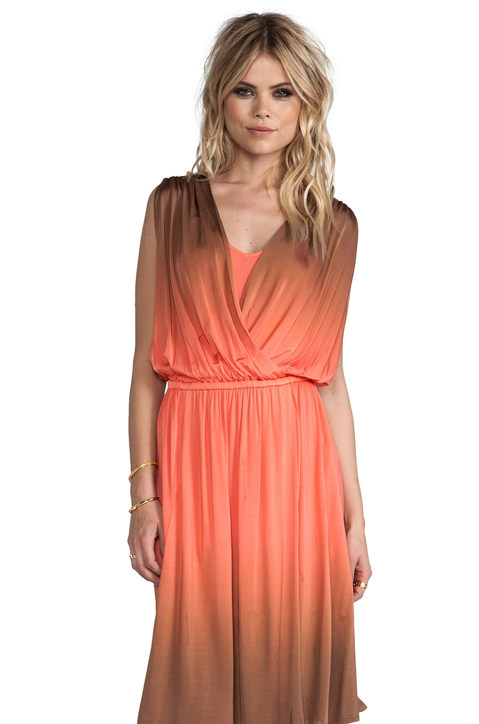 Plenty by Tracy Reese Dip Dyed Slinky Jersey Draped Surplice Dress in Clementine/Adobe