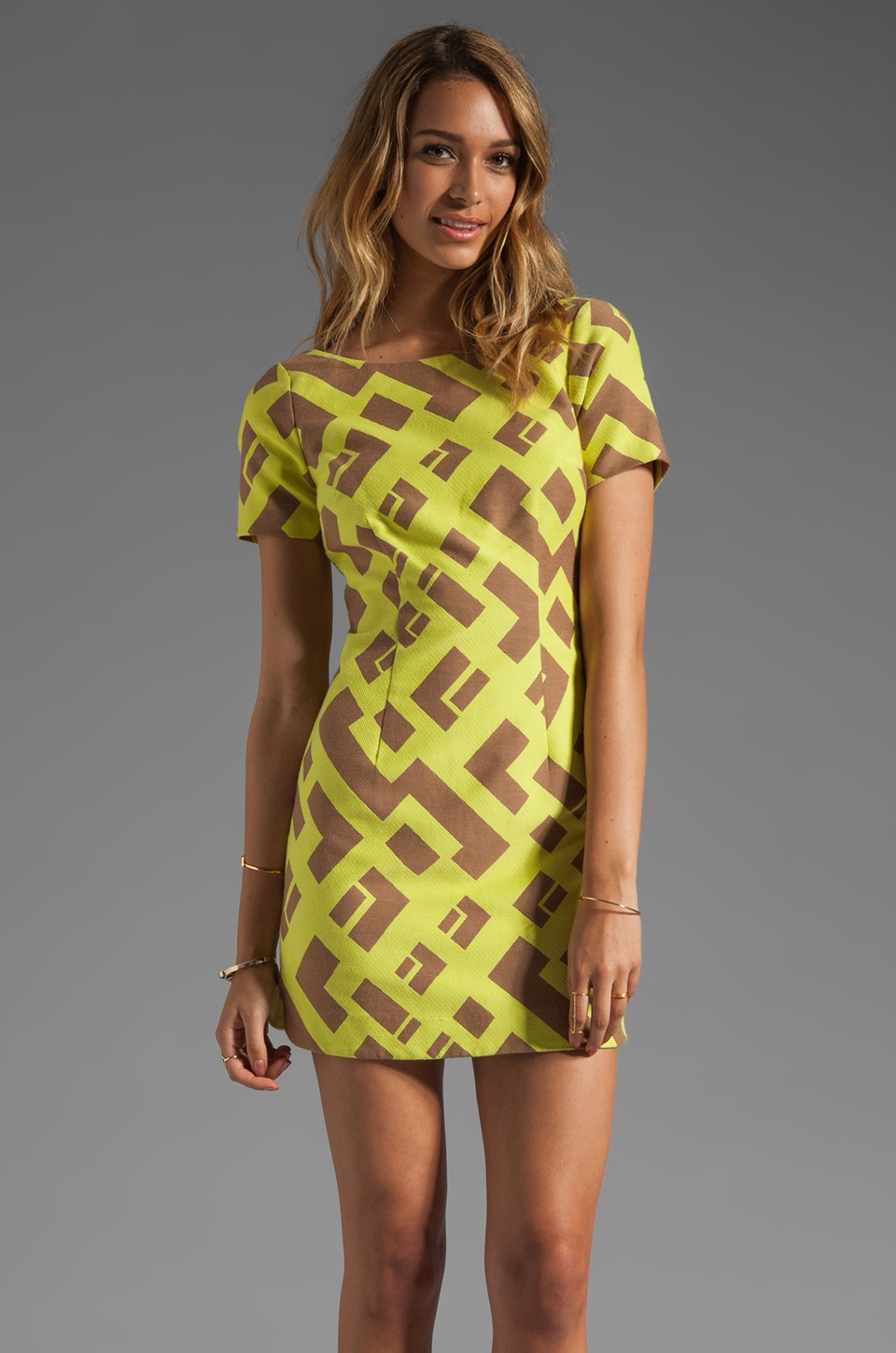 Plenty by Tracy Reese Geometric Jacquard Contrast Shift Dress in Sulphur Springs