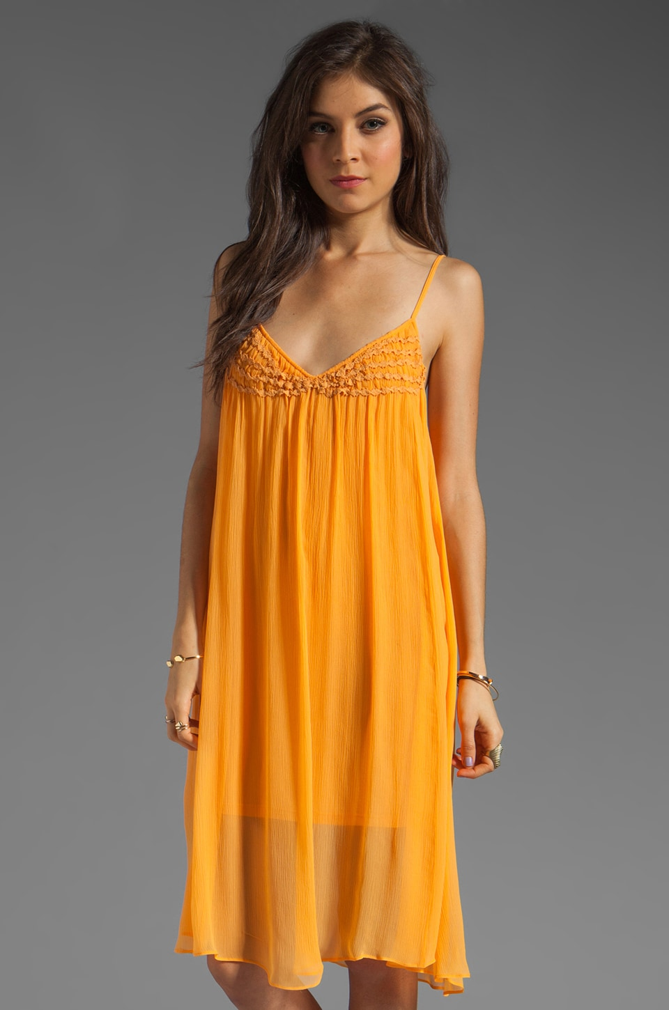 Plenty by Tracy Reese Soft Solids Embellished Slip in Bird of Paradise