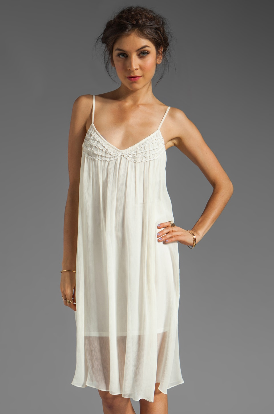 Plenty by Tracy Reese Soft Solids Embellished Slip in White