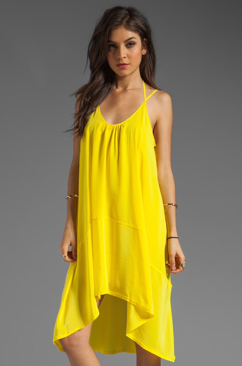 Plenty by Tracy Reese Soft Solids Tent Tank Dress in Blazing Yellow