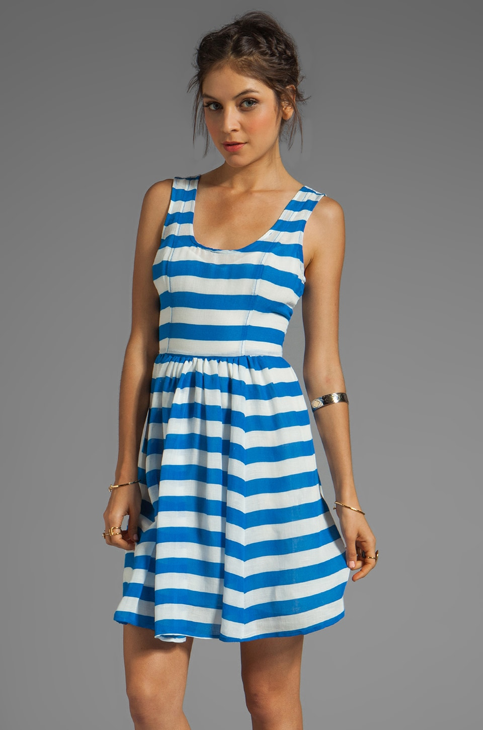 Plenty by Tracy Reese Sheer Bold Stripes Frock Dress in Skydiver Blue/White