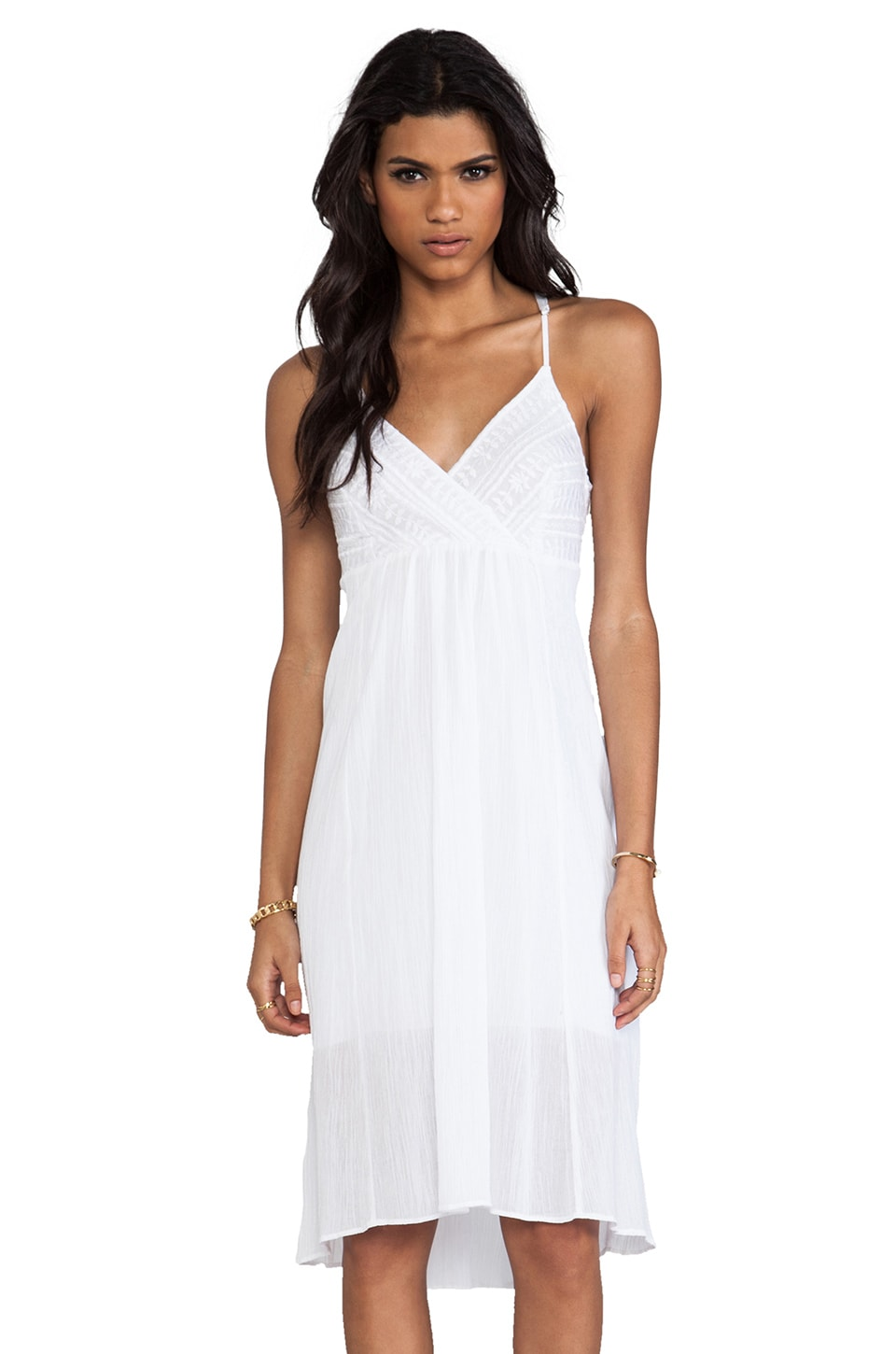 Plenty by Tracy Reese Novelty Embroidery Embellished Slip in White