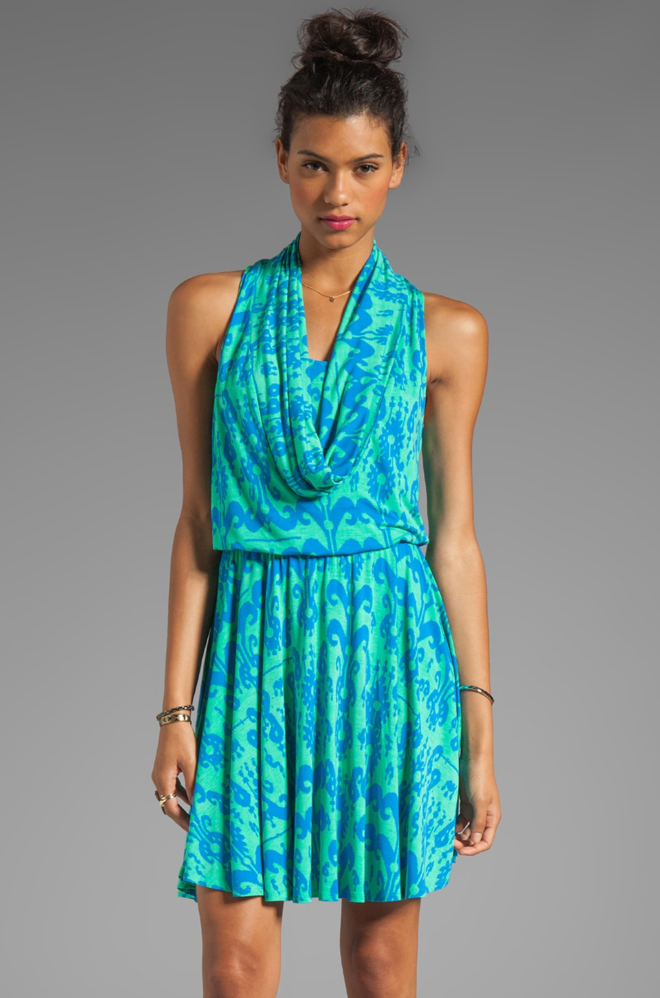 Plenty by Tracy Reese Printed Jersey Cowl Dress in Aqua/Skydiver Ikat