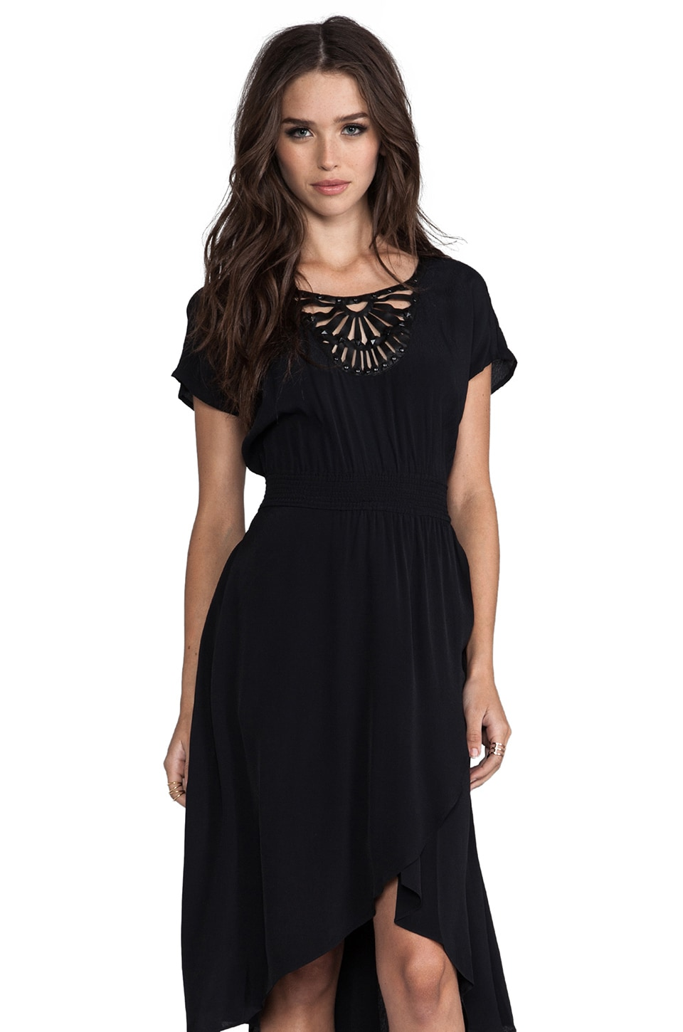 Plenty by Tracy Reese Rayon Crepe Embellished Soft Solids Surplice Dress in Black