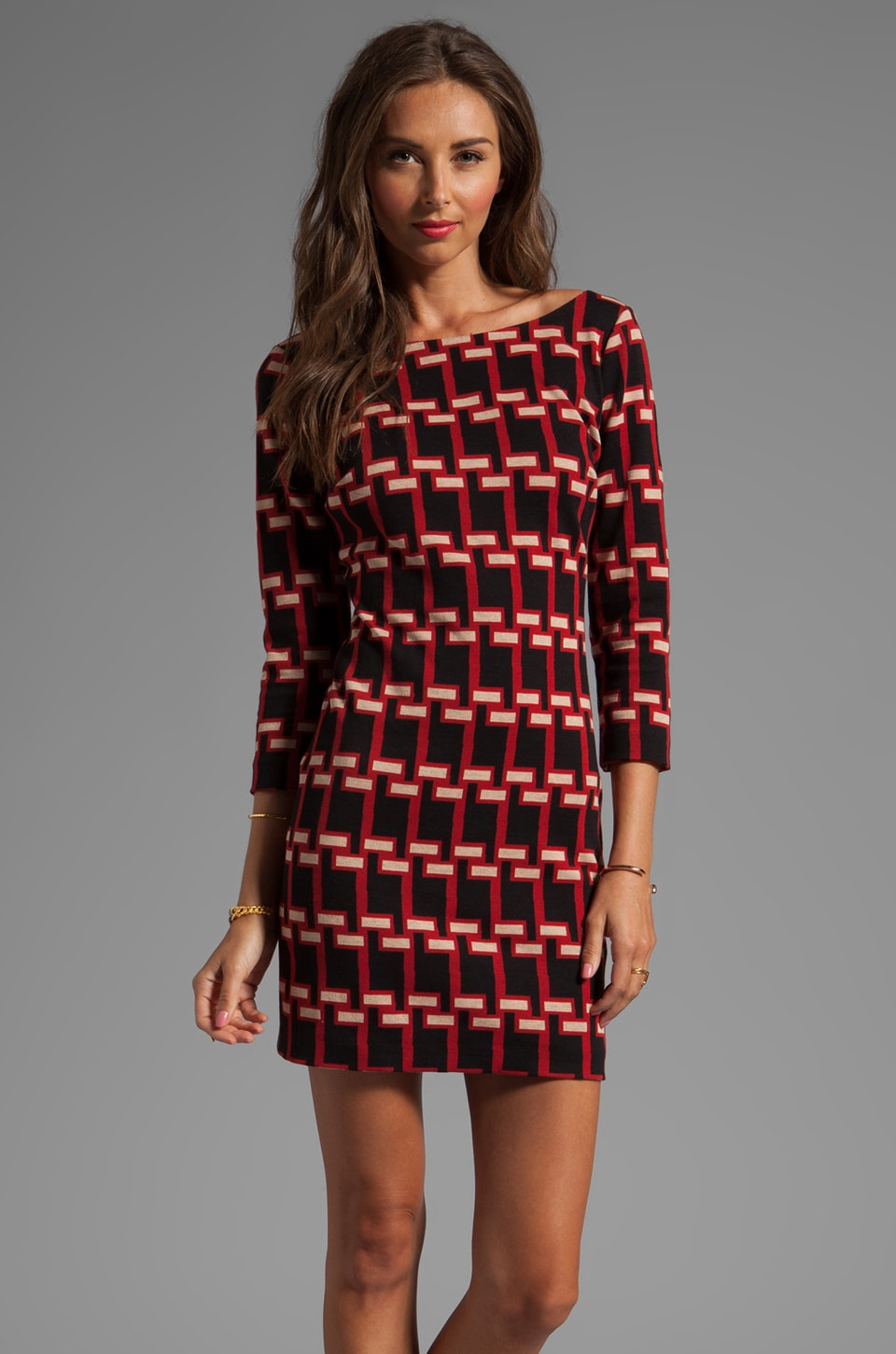 Plenty by Tracy Reese Geo Houndstooth Jacquard V-back Shift Dress in Black/Ruby Rust