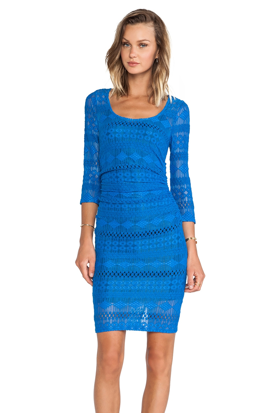 Plenty by Tracy Reese Geo Striped Lace Sexy T Dress in Imperial Blue