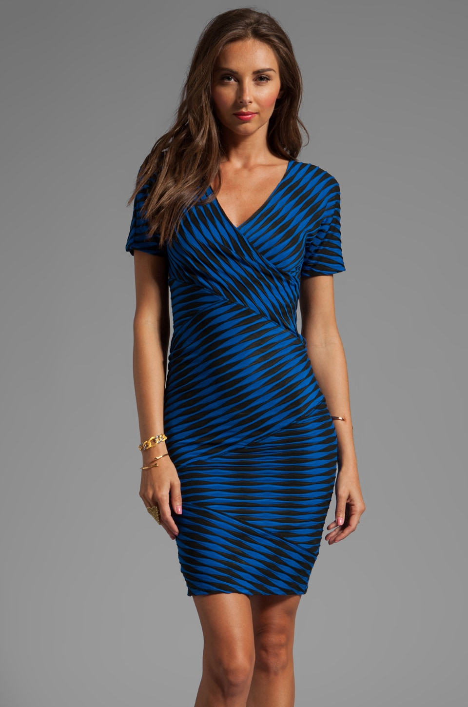 Plenty by Tracy Reese Novelty 2-Tone Twist Jersey Directional Dress in Imperial Blue/Black