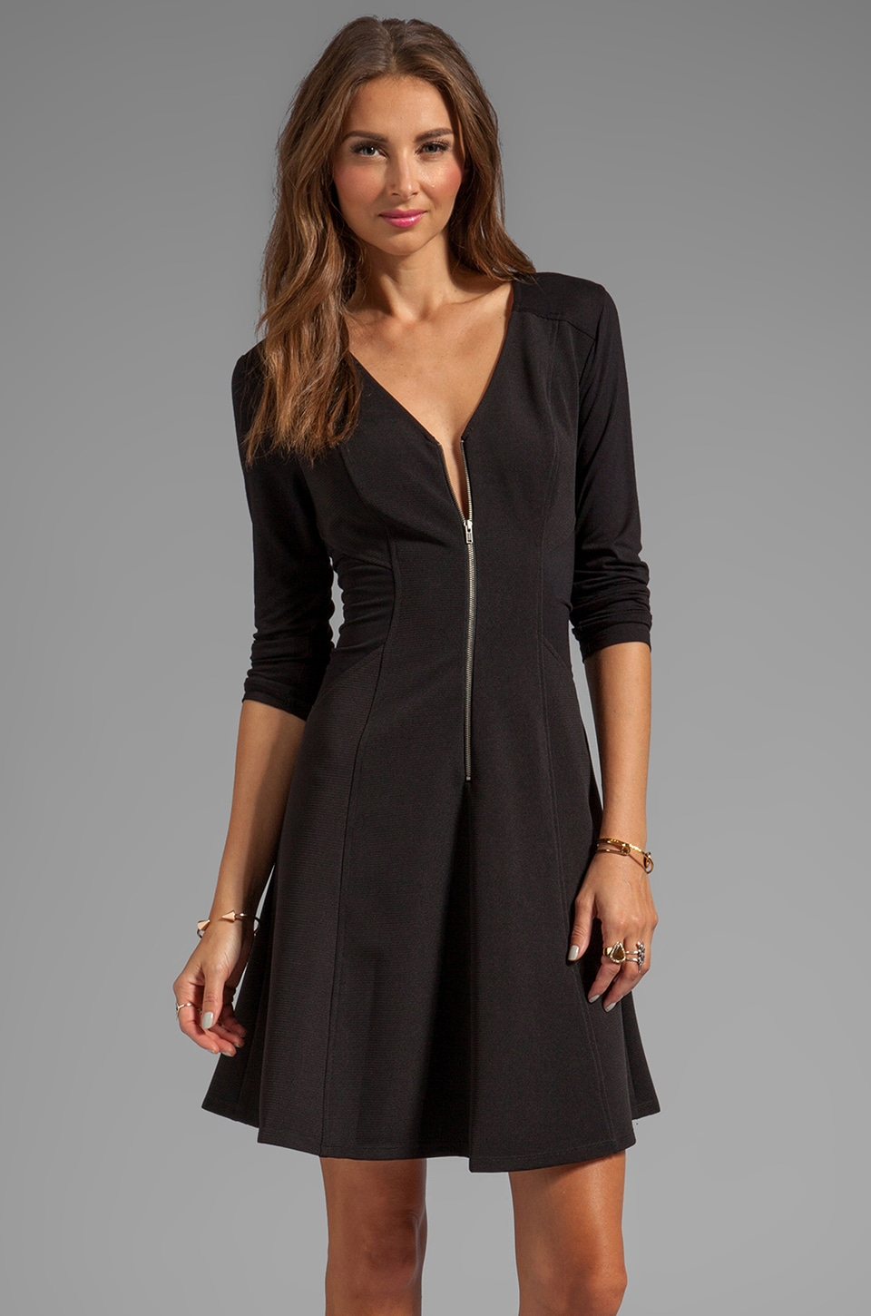 Plenty by Tracy Reese Ottoman Knit Zip Front Dress in Black