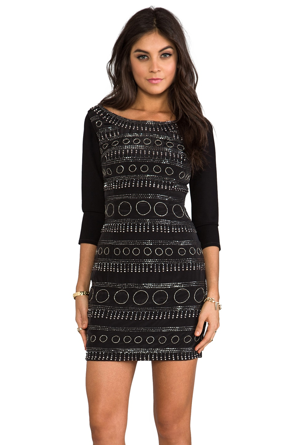 Plenty by Tracy Reese Circular Beaded Shift Dress in Black