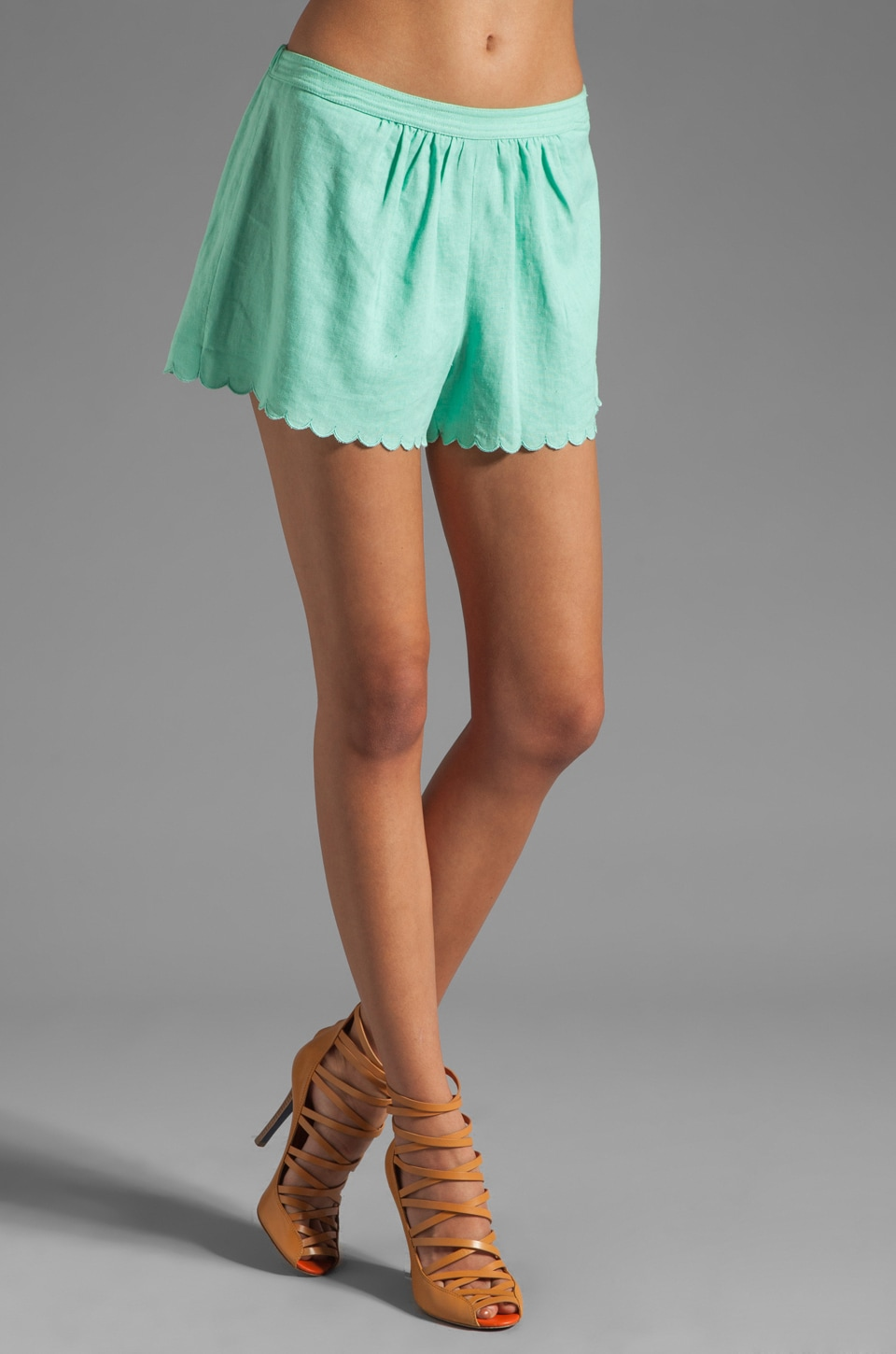 Plenty by Tracy Reese Washed Linen Blend Scalloped Shorts in Clear Skies