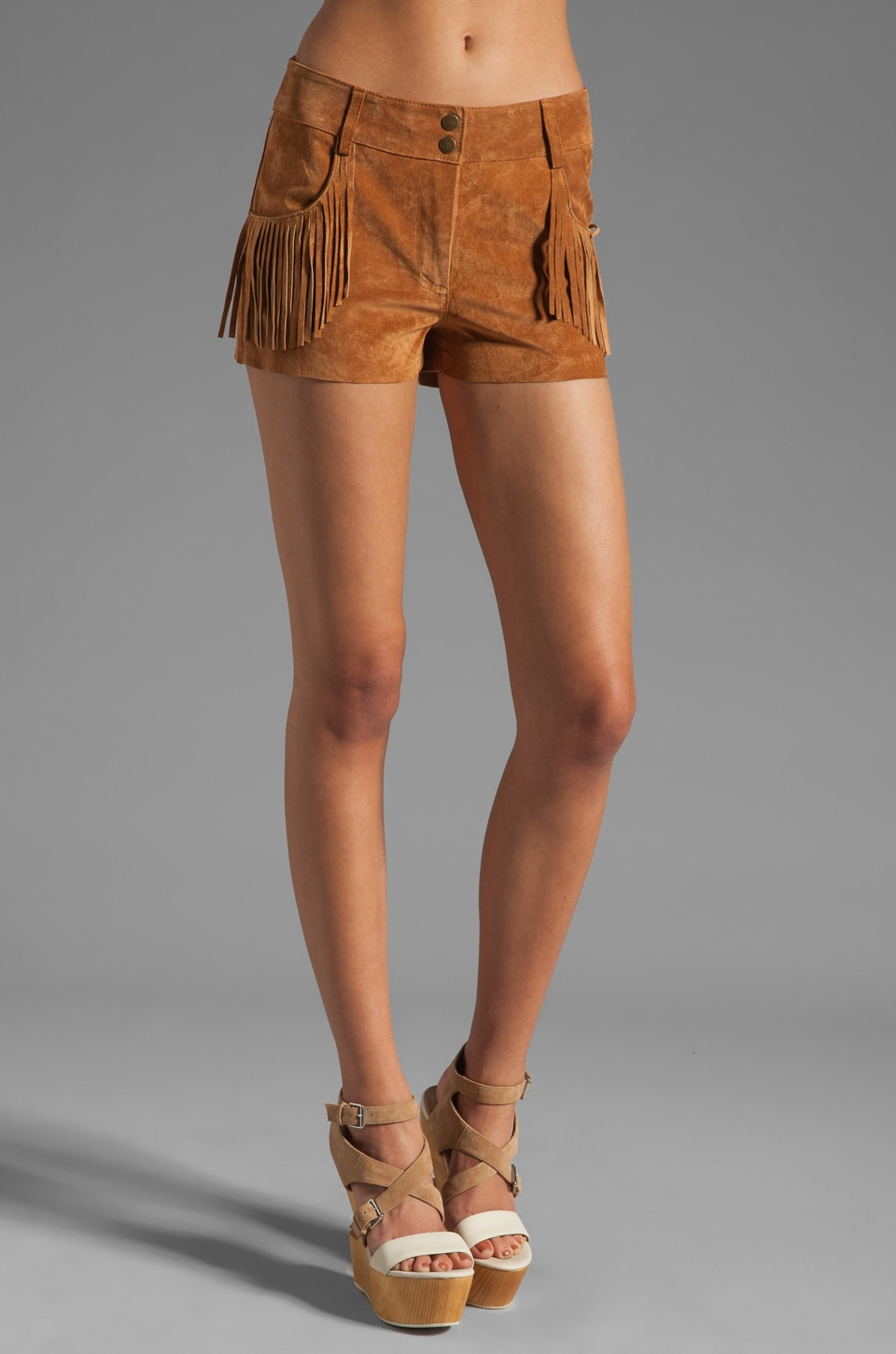 Plenty by Tracy Reese Suede Fringed Short in Adobe