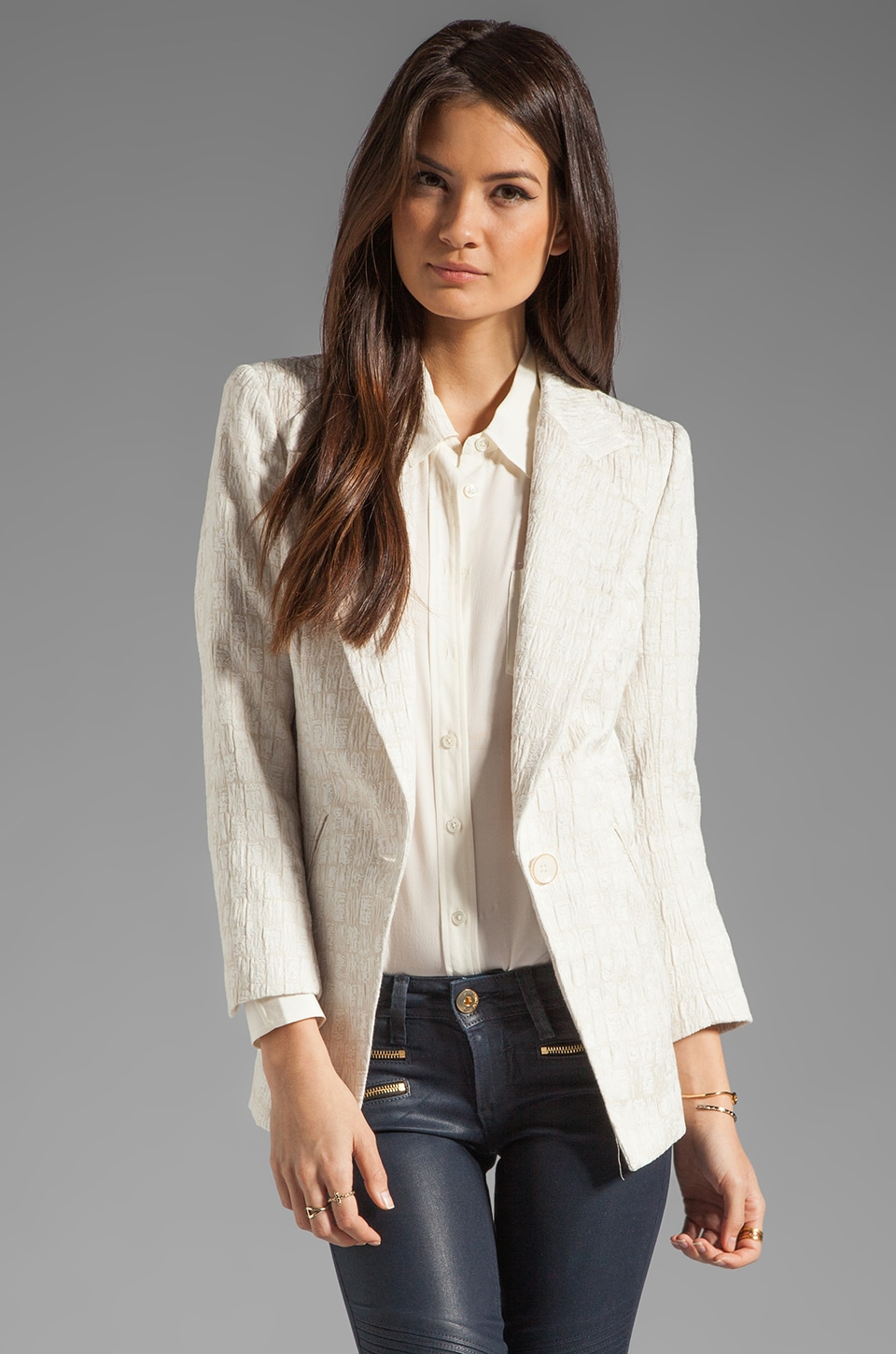 Plenty by Tracy Reese Tree Bark Jacquard Cut Away Blazer in Bone