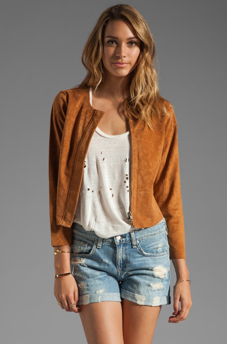 Plenty by Tracy Reese Suede Fringed Jacket in Adobe