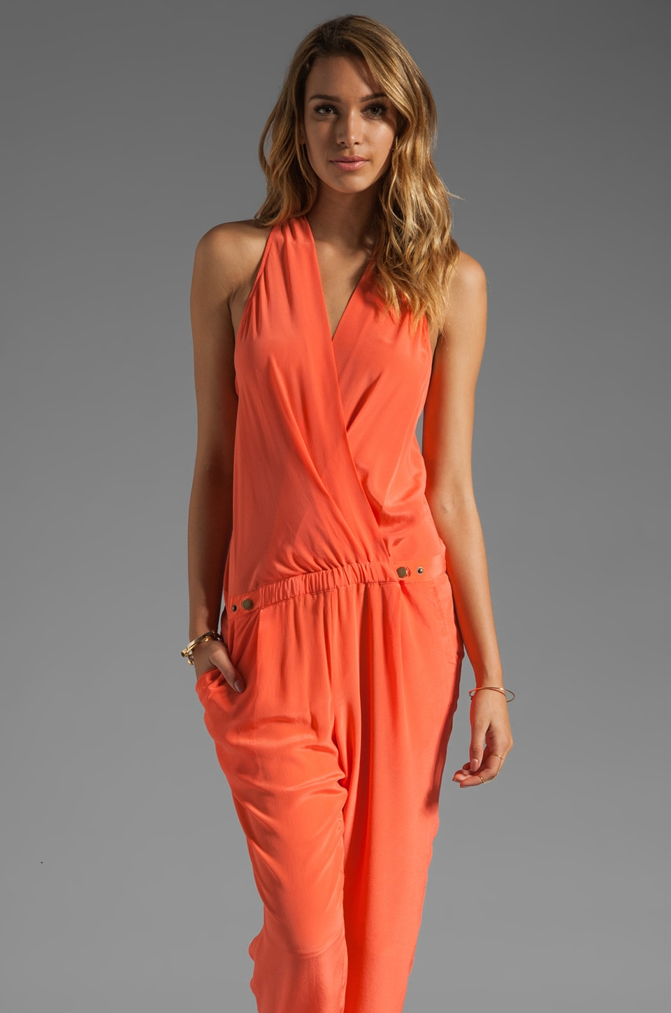 Plenty by Tracy Reese Soft Solids Cropped Jumpsuit in Clementine
