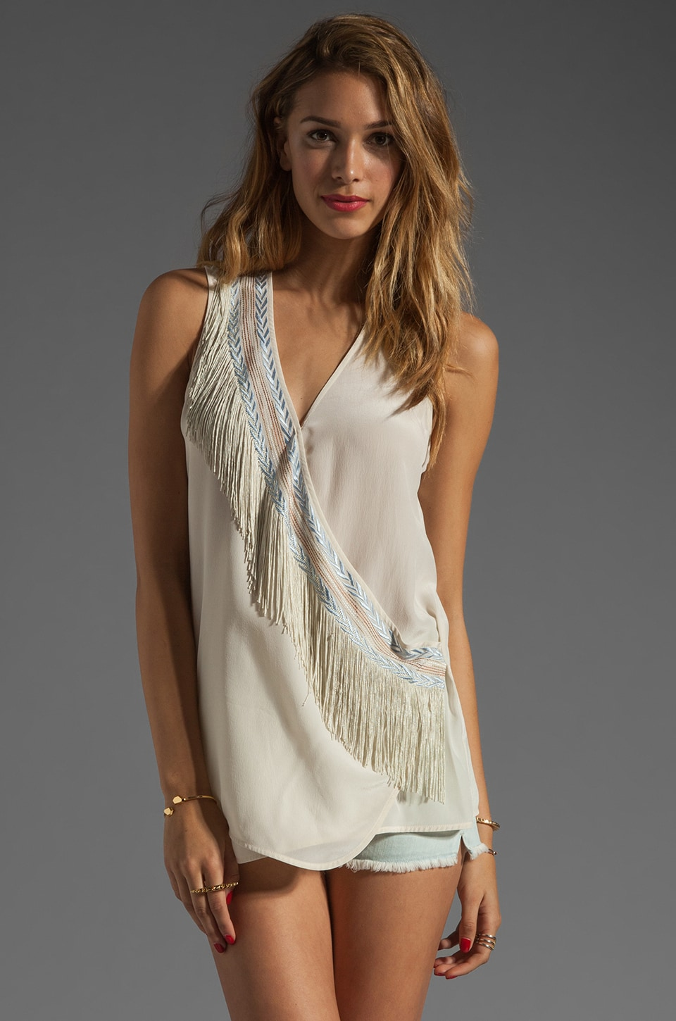 Plenty by Tracy Reese Embroidered Silk Surplice Blouse in Bone