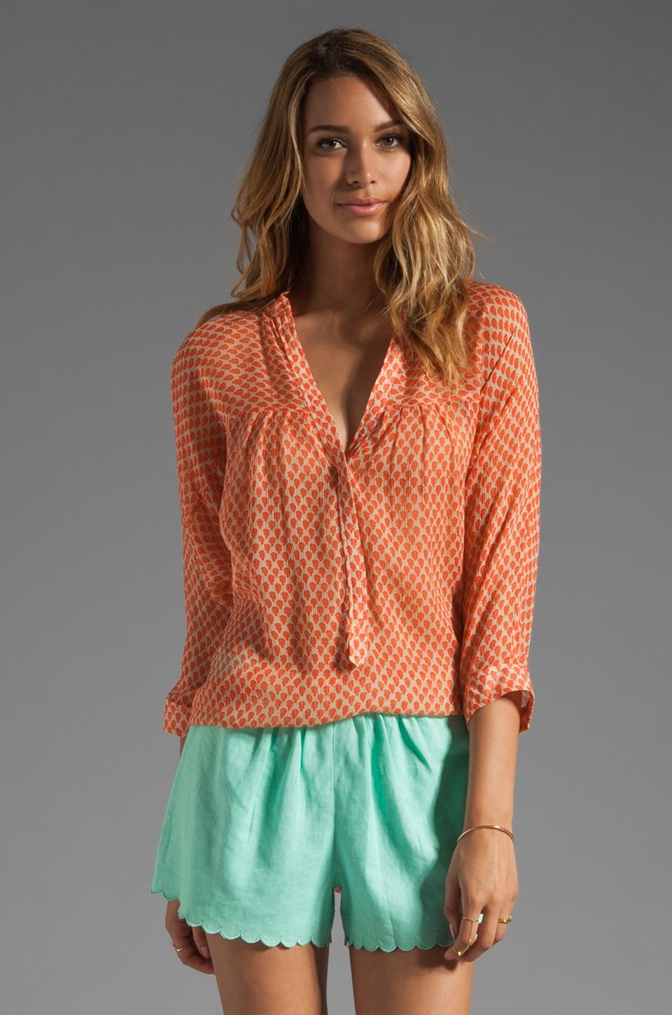 Plenty by Tracy Reese Tiny Shields Easy Shirt in Clementine