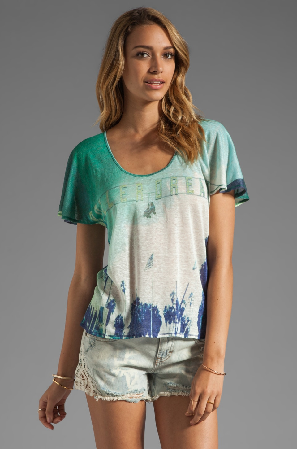 Plenty by Tracy Reese Printed Linen Jersey Soft T in Roller Dreams
