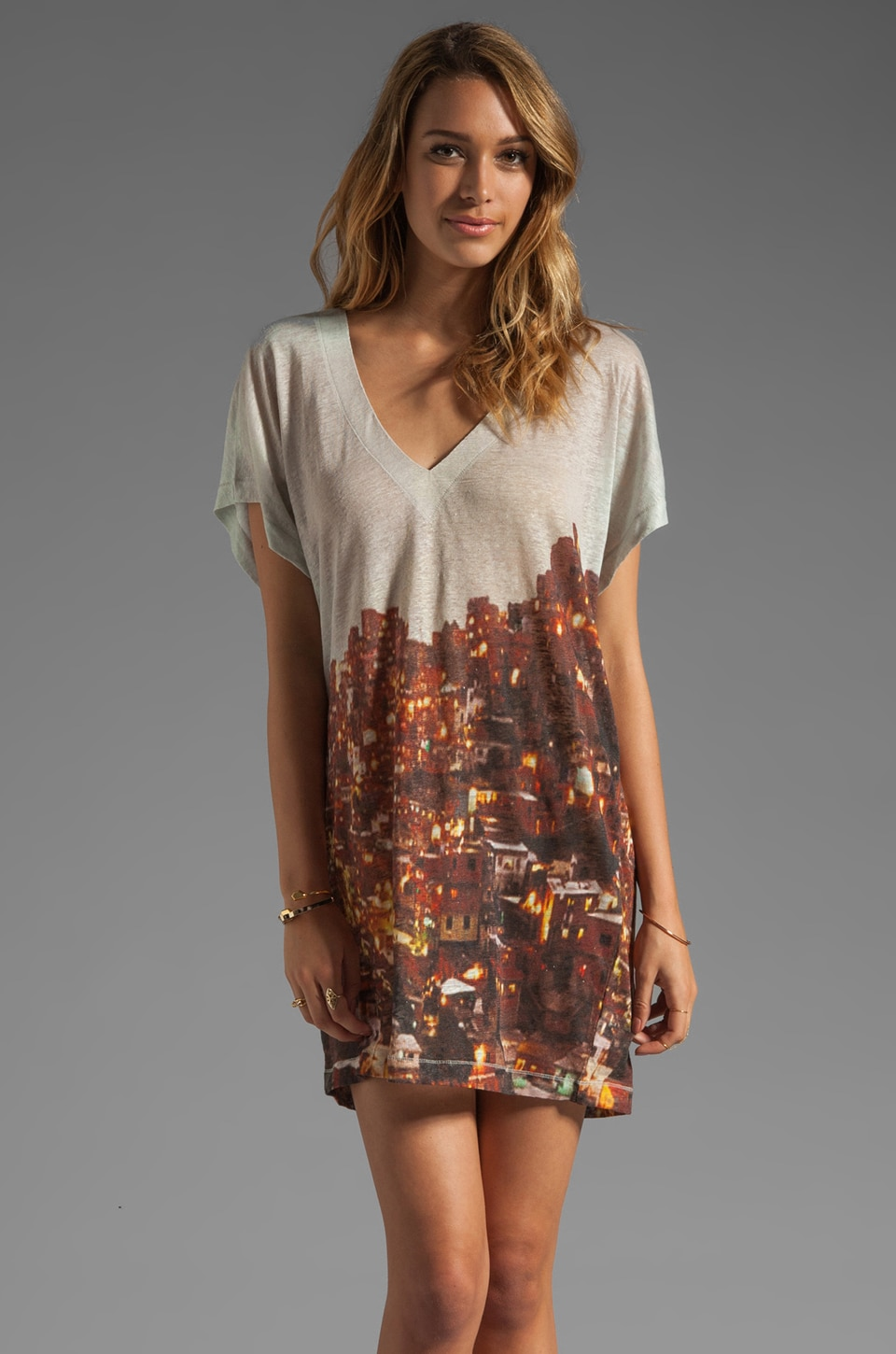 Plenty by Tracy Reese Printed Linen Jersey Dolman Chemise in Adobe Sunset
