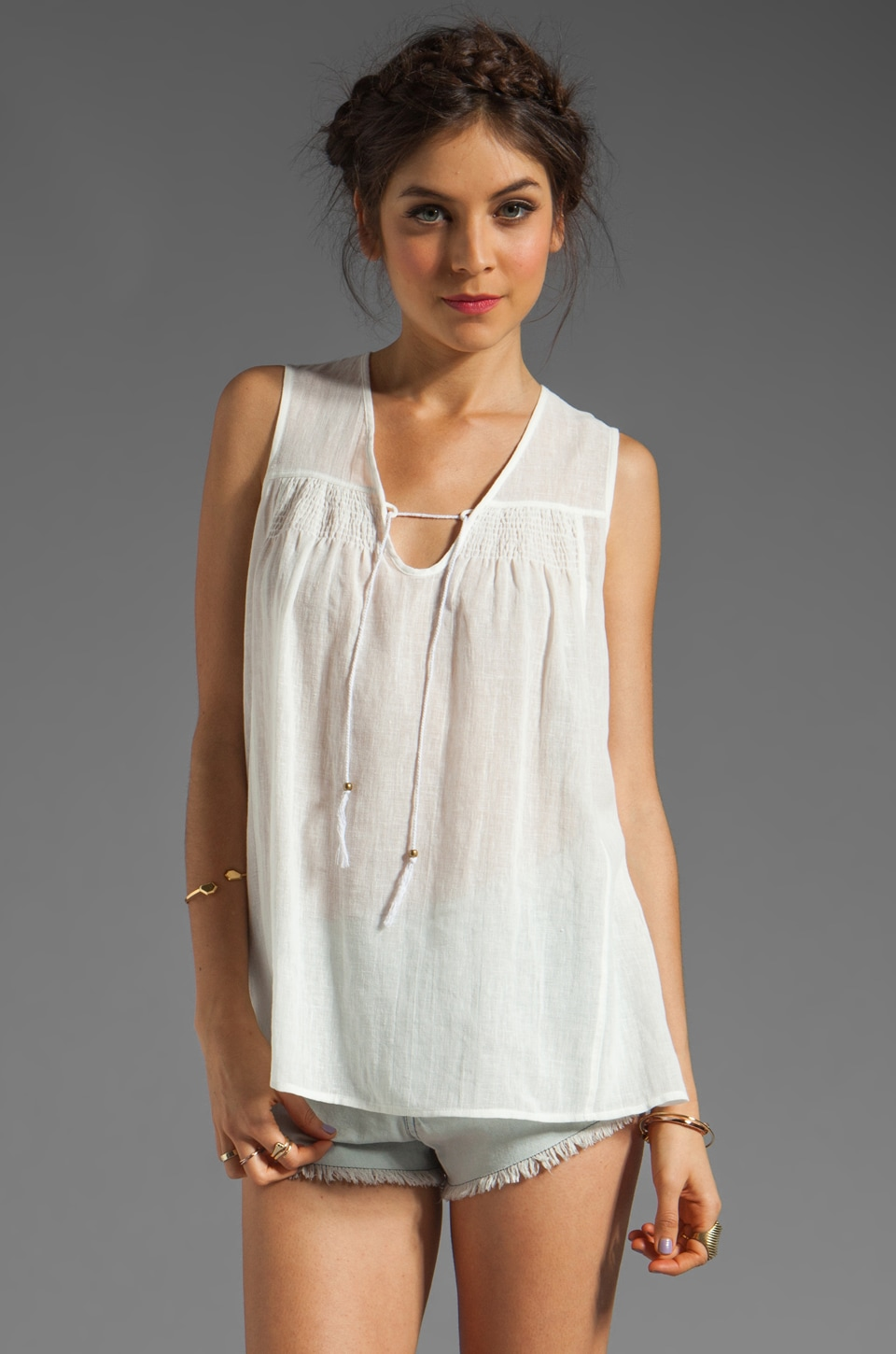 Plenty by Tracy Reese Linen/Cotton Voile Sleeveless Smocked Blouse in White