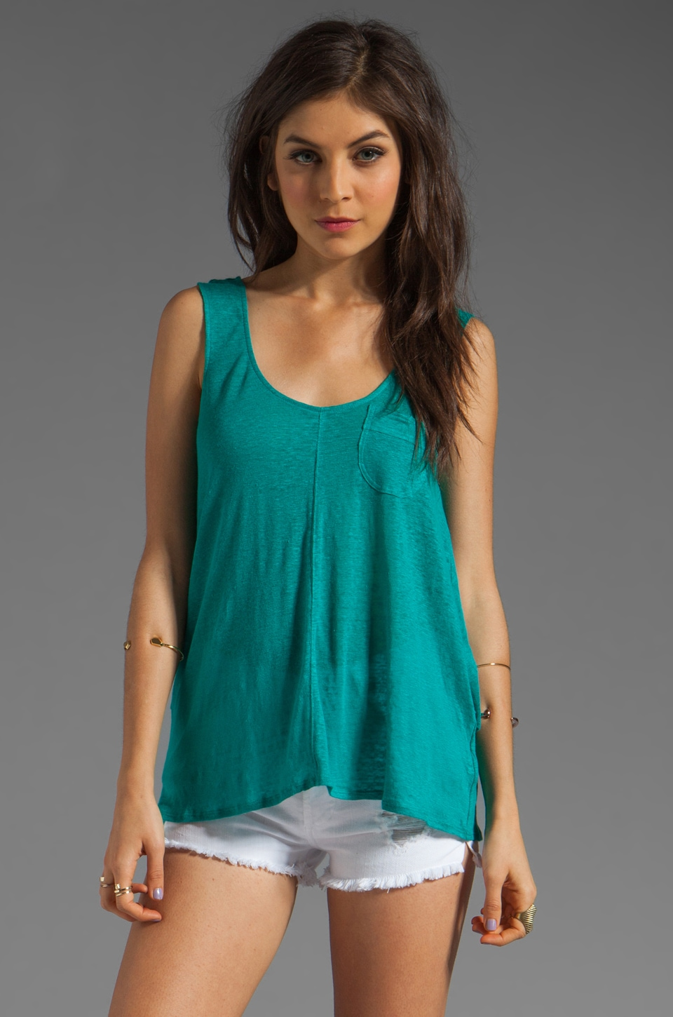 Plenty by Tracy Reese Solid Linen Jersey Cape Tank in Tropical Green