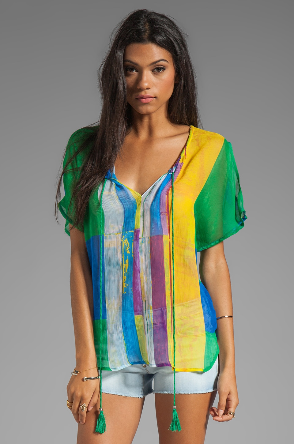 Plenty by Tracy Reese Cubist Watercolor Cocoon Peasant Top in Cubist Watercolor