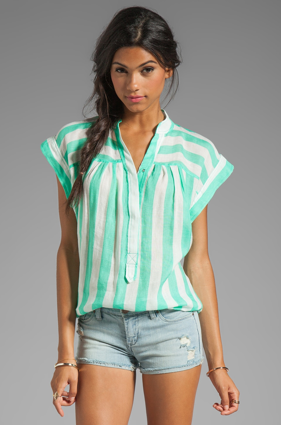 Plenty by Tracy Reese Sheer Bold Stripes Easy Peasant Top in Sea Spray/White