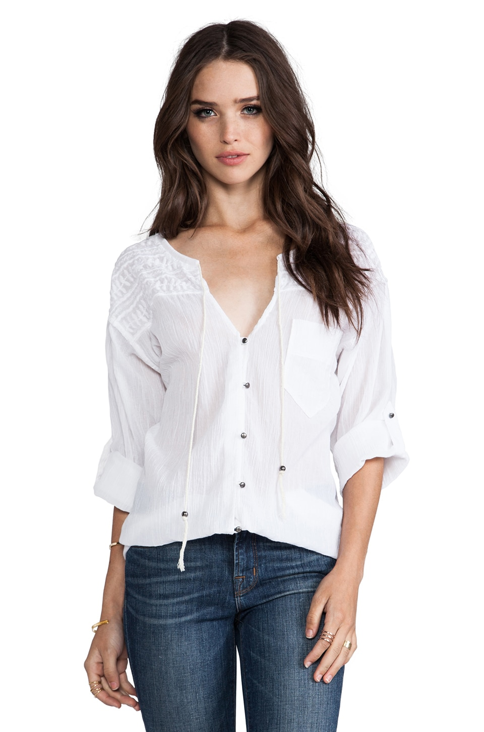 Plenty by Tracy Reese Novelty Embroidery Tie Neck Blouse in White