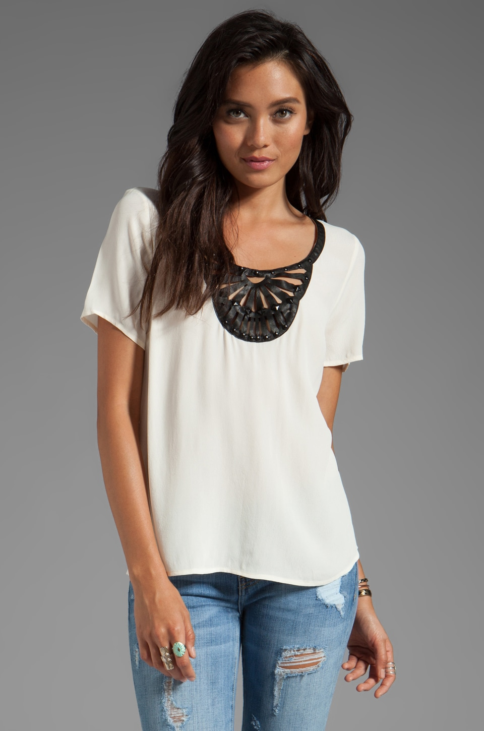 Plenty by Tracy Reese Rayon Crepe Embellished Soft Solids T in Creme
