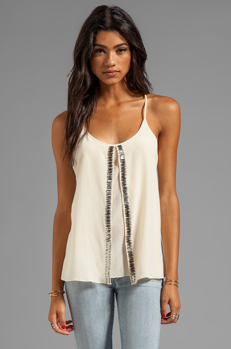 Plenty by Tracy Reese Silk Embellished Soft Solids Beaded Fly Away Tank in Creme