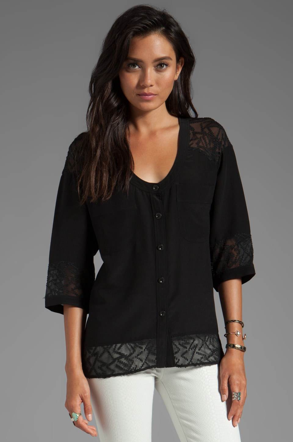 Plenty by Tracy Reese Soft Solids Diagonal Lace Combo Blouse in Black