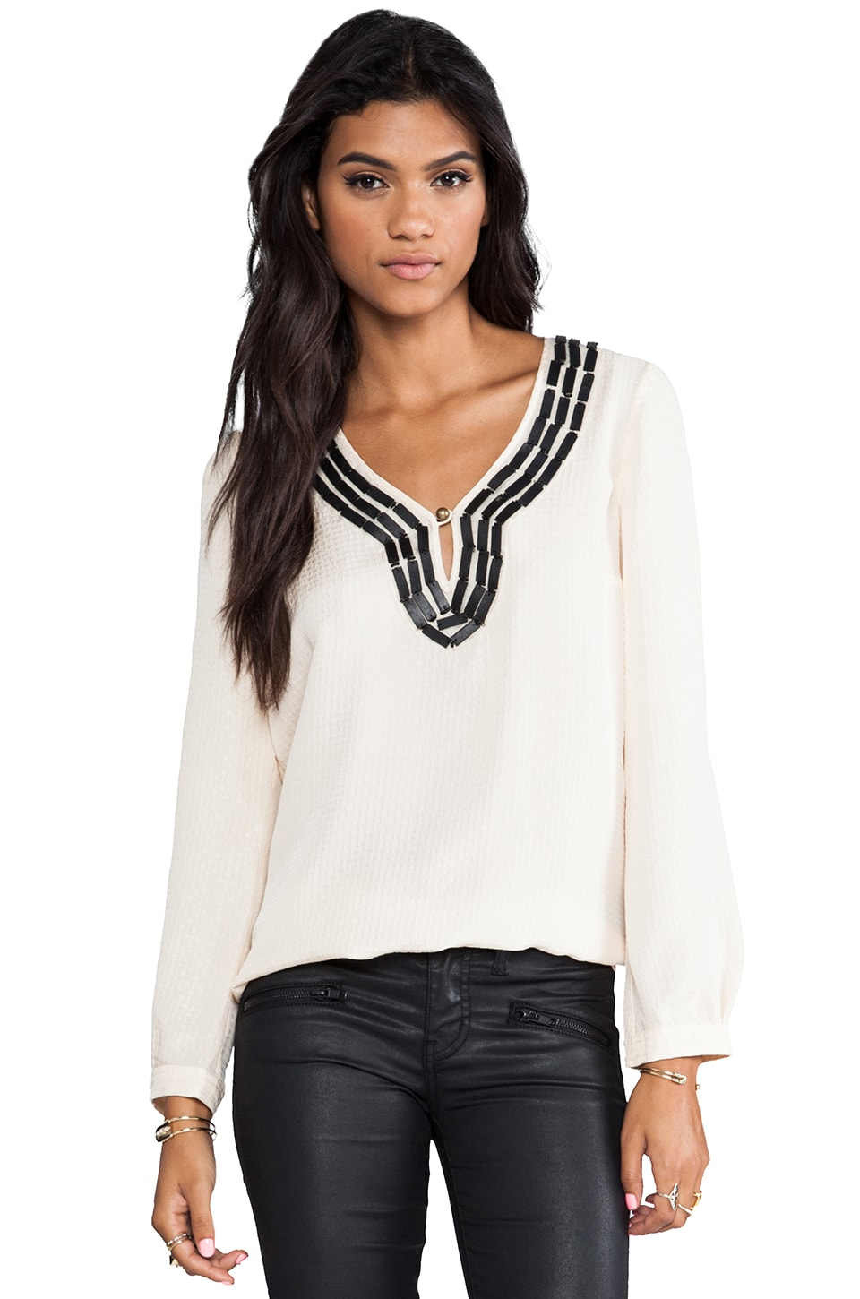 Plenty by Tracy Reese Embellished Soft Solids Peasant Blouse in Vanilla